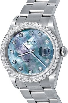 Wingates Quality Watches: For Sale, one Pre Owned Mens Rolex Datejust Automatic Winding Wrist Watch with Custom dark Mother of Pearl Dial with Diamond hour markers