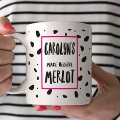 Our Personalised Make Believe Merlot Mug is great for someone who loves red wine, Merlot in particular. A great novelty gift idea Personalised Gin, Personalized Mugs, Handmade Gifts For Her, Gifts In A Mug, Gift Mugs, Cute Gifts, Funny Gifts, Friend Mugs, Alcohol Gifts