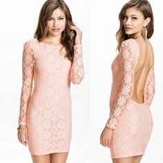 Sexy Women Slim Backless Lace Long Sleeve Bodycon Evening #Party Dress# - $12.63