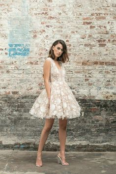 13 amazing short and knee length wedding dresses Short wedding dress are perfect for spring or summer weddings - click through our gallery for wedding dress inspiration Civil Wedding Dresses, Pink Wedding Dresses, Tea Length Wedding Dress, Wedding Gowns, Bhldn Wedding, Wedding Themes, Wedding Dresses Simple Short, Cocktail Wedding Dress, Lace Wedding