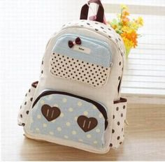 Japanese and Korean version of the shoulder bag student bag female canvas  backpack computer bag Japanese tide cute college wind 85bb1c9ca031f