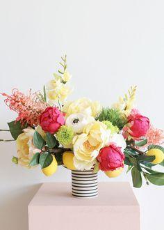Yellow Peonies, Silk Peonies, Peony, Lemon Flowers, Silk Flowers, Dianthus Flowers, Spring Flower Bouquet, Spring Flowers, Bud Flower