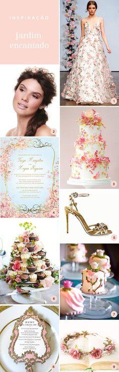 """Gosta do tema """"jardim encantado""""? No blog, tem lindas ideias e referências de convites, vestido, sandália, bolo, docinhos e muito mais."""