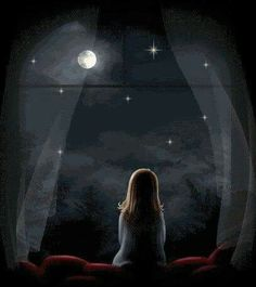 Little Girl Looking at the  Stars