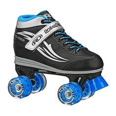 Roller Derby Boys' Blazer Quad Skates with Lighted Wheels - Black/Blue 13, Black Blue