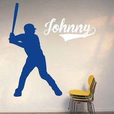 Baseball Player Wall Decal, Baseball Wall Art, Baseball for Kid's Room, Baseball Wall Decor, Sports Office Wall Decals, Sports Wall Decals, Vinyl Wall Decals, Vinyl Designs, Wall Art Designs, Wall Design, Baseball Wall Decor, Fantasy Character, Christmas Decals