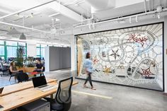 interior design of the Etsy Headquarters by Gensler - love the rope screen room divider by Manca Ahlim