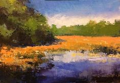 """Daily Paintworks - """"Marsh, Tidal Pond"""" - Original Fine Art for Sale - © Mary Gilkerson"""