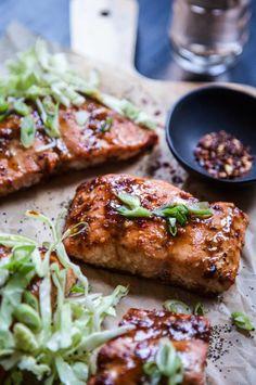 Baked Miso-Hoisin Salmon with Crunchy Slaw - Climbing Grier Mountain