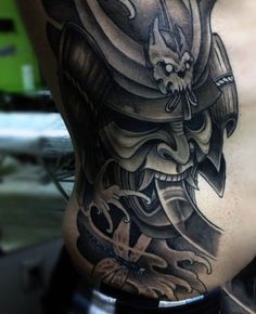 Masculine Samurai Tattoo Ideas For Men On Ribs