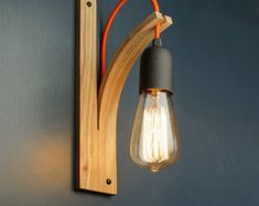 English Elm Bracket Wall Light by LayerTree on Etsy - can choose the wood, bulb holder finish and cable colour Wall Sconce Lighting, Wall Sconces, Wood Sconce, Pendant Lighting, Track Lighting, Wall Mirror, Steam Bending Wood, Luminaire Mural, Wooden Brackets