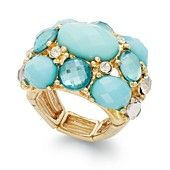 INC International Concepts 14k Gold-Plated Turquoise Multi-Stone Stretch Ring