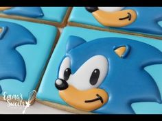 Back in March I made these Sonic the Hedgehog cookies for my son, and I recorded the process. I started with a basic rectangle cookie and iced it with .