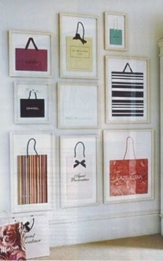 What a cute idea: framed shopping bags. Great closet decor...yes! I never know what to do with those really cute bags!