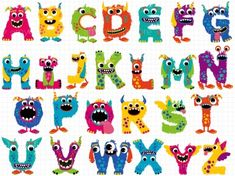 Clipart - Fluffy Monster Alphabet (ABC)