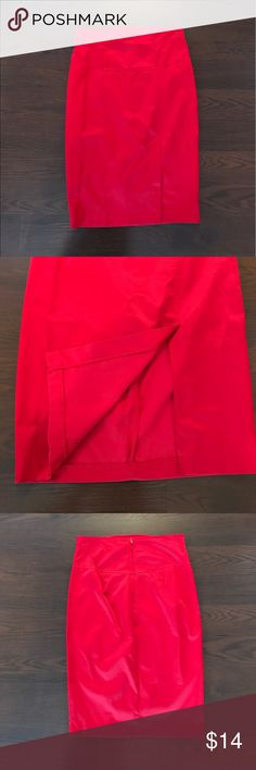 "H A V E Red pencil skirt with a satin look | Approx. 12.5"" across waist 