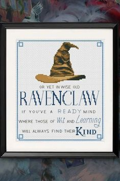 Delve into the magic world of Harry Potter ⚡ with cross stitch pattern - Sorting Hat: Cross Stitch Letters, Cross Stitch Bookmarks, Cute Cross Stitch, Counted Cross Stitch Patterns, Cross Stitch Designs, Cross Stitch Embroidery, Diy Embroidery, Hogwarts, Harry Potter Cross Stitch Pattern