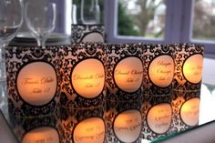 Editable Posh Printables Bold Damask Place Card Mini Luminaries