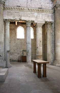 Classical Columns of San Salvatore, Spoleto - Built in the style of a Classical pagan temple, it's a Christian church build during the late Roman Empire - Late 4th or early 5th Century