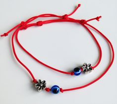 Red String Kabbalah Bracelets Blue Eye and by BannerDesignShop