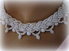 Antique Seed Bead Choker Milk Glass Vintage Summer necklace