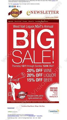 Brand - West Vail Liquor Mart  Subject:  West Vail Liquor's BIG SALE!