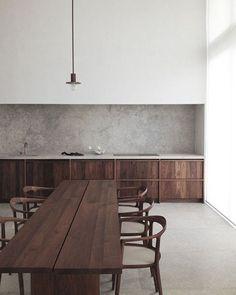 Love this space  architect Hans Vanstuyft | #concrete #kitchen #interiors #styling #design #interiordesign #inspo #theblock #timber #dining
