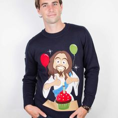 Happy Birthday Jesus Christmas Jumper from Funky Christmas Jumpers Ireland. Celebrate Jesus's Birthday with this fun Christmas Jumper. Best Christmas Sweaters, Mens Christmas Jumper, Christmas Jumpers, Christmas Clothes, Christmas Jesus, Christmas Humor, Christmas Shopping, Christmas Ideas, Merry Christmas