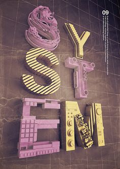 SYSTEM by Giampaolo Miraglia, via Behance - 3D Typography Design Modelling