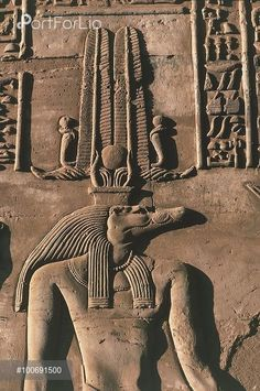 Egypt - Kawn Umbu (Kom Ombo). Ancient Ombos. Temple of Sebek and Haroeris. Relief of crocodile head god Sebek