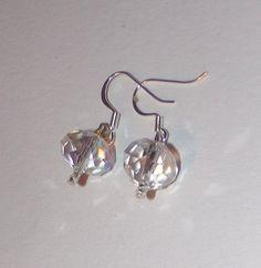 Clear Faceted  Austrian Crystal Dangle Earrings by susansarttreasures on Etsy