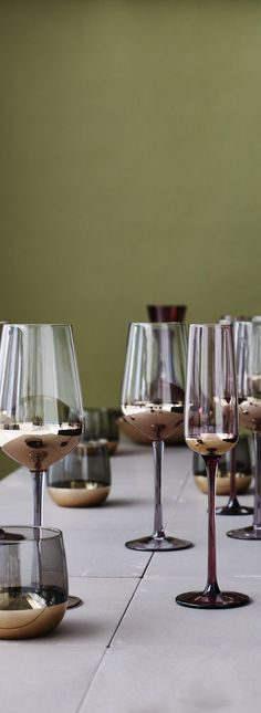 Sophisticated and opulent, the Boja Set of Four Gold Foil Wine Glasses will lend a luxe edge to your glassware collection.