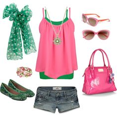 Summer Fresh with Green & Pink, created by heather-rolin.polyvore.com