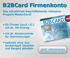 Die B2BCard Spesenkarten: Firmenkreditkarten auf Guthabenbasis dank Sofortaufladekonto minutenschnell aufladbar | Online Kredit - Finanz Partner