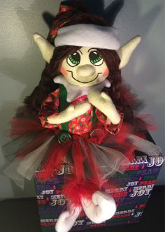 Green and Red  Plush Christmas Girl Elf Doll with by AmbersElves