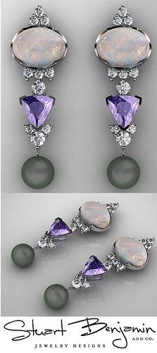 Custom Opal, Tanzanite and Diamond CAD render Earrings
