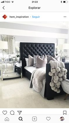 Furnish Your Home In Style With These Furniture Secrets. Buying furniture for your home can be loads of fun or a nightmare. Black Headboard, Headboard Decor, Leather Headboard, Bedroom Themes, Home Decor Bedroom, Silver Bedroom Decor, Bedroom Ideas, Master Bedroom, Black Leather Bed