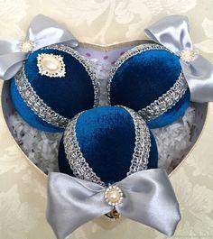 Купить Новогодние шары ручной работы из бархата синего цвета в интернет магазине на Ярмарке Мастеров