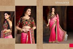 #Pink #Satin #Chiffon #Saree With #Black #Silk #Blouse $68.55 www.fashionumang.com