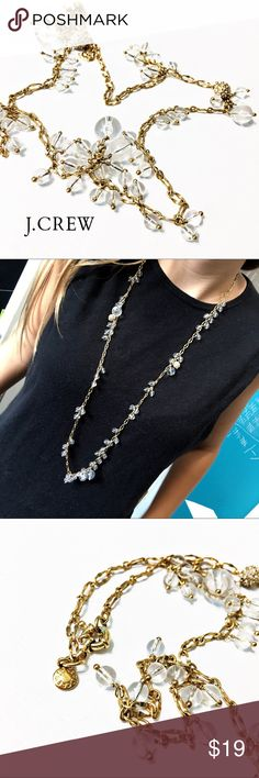 """J. Crew Long Gold & Lucite Tiny Bubble Necklace This long (34""""!) necklace from J. Crew is dainty and delicate but so pretty! Gold-toned chain with tiny clear Lucite and crystal pave balls hanging from it. Will match anything! In like-new condition. Questions? Please ask! Sorry, no trades. Bundle for a discount! Ships SAME day (EST) - New name brand jewelry added daily so check back often! J. Crew Jewelry Necklaces"""