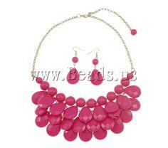 Acrylique parure de bijoux, boucle d'oreille & collier,boucle d'oreille crochet, Placage de couleur d'or, carmin rose, 19x25mm, 13mm, 19x54mm, Longueur:Environ 22.5 pouce