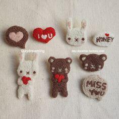 【糖糕】白日梦原创手工定制趣味软兔萌熊压花优质组合羊毛毡胸针