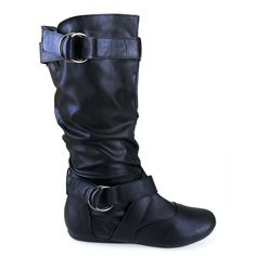 Klein-40 Black Strappy Buckle Slouchy Mid Calf Flat Boots