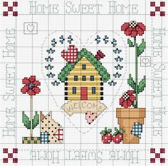 <3 Cross-stitch Home Sweet Home... no color chart available, just use pattern chart as your color guide.. or choose your own colors...