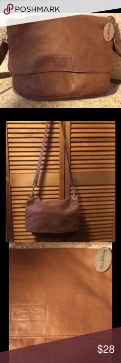 """Kenneth Cole Tan Crossbody Purse Tan soft leather crossbody purse with snap closure, removable and adjustable strap, front zippered pocket under the flap with open pocket and slots for pens, cloth interior with zippered side pocket, and silvertone hardware with metal engraved Kenneth Cole tags. 13""""X11""""x 2"""" wide bottom. Great condition. Kenneth Cole Bags Crossbody Bags"""