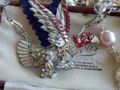 Patriotism   Vintage Little Nemo Patriotic Eagle Assemblage Necklace