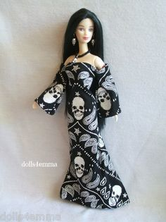 * SKULLS * Goth Gown and Jewelry Set for Barbie - $20.00 eBay