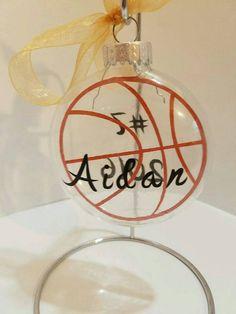 Basketball Christmas Ornament Clear 3 1/4 Flat Bulb Ornament Christmas Ornament Basketball Gift Personalized