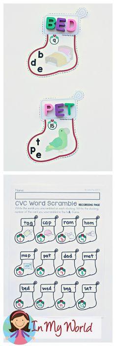 FREE Christmas Literacy Centers for Kindergarten. CVC words.