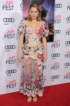 Haley Bennett wearing MINNY to the 'Rules Don't Apply' premiere during the AFI fest in Los Angeles.